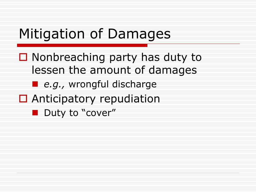 Mitigation of Damages