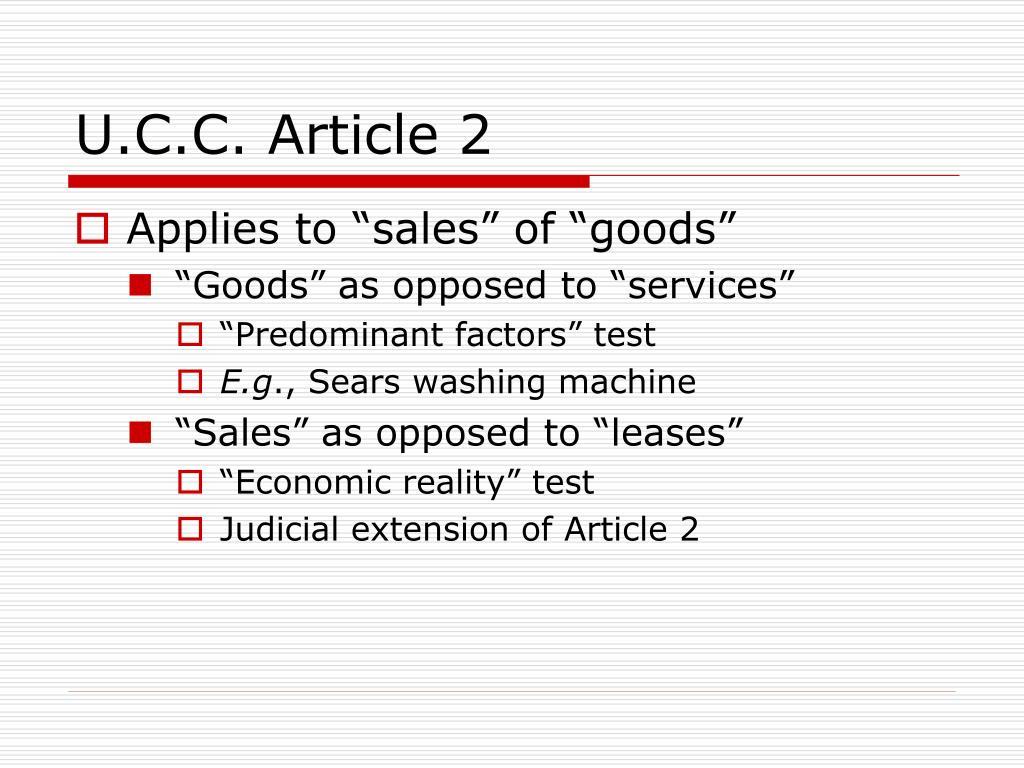 U.C.C. Article 2