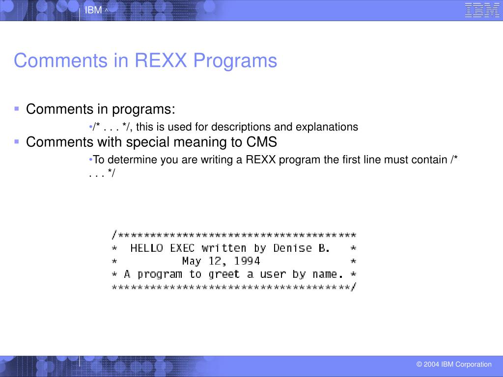 Comments in REXX Programs