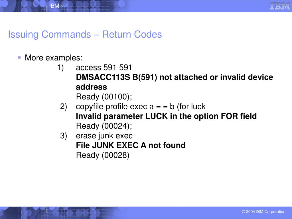 Issuing Commands – Return Codes