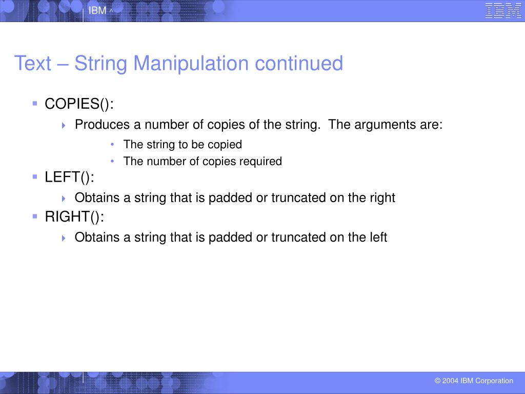 Text – String Manipulation continued