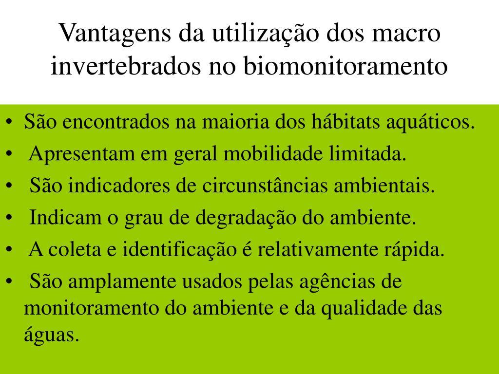 Vantagens da utilização dos macro invertebrados no biomonitoramento