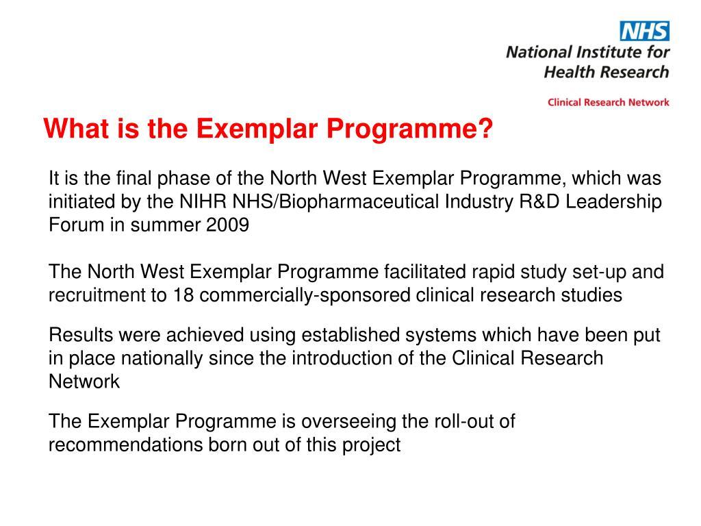 What is the Exemplar Programme?