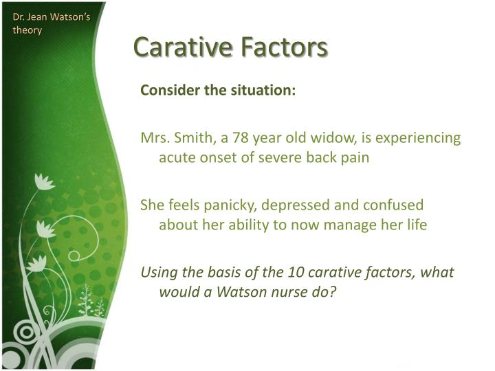 10 carative factors definitions jean watson Chapter 7 watson's philosophy and theory of transpersonal caring d elizabeth jesse the nursing profession jean watson has authored 10 books original 10 carative factors watson bases her theory for nursing practice on the following 10 carative factors.
