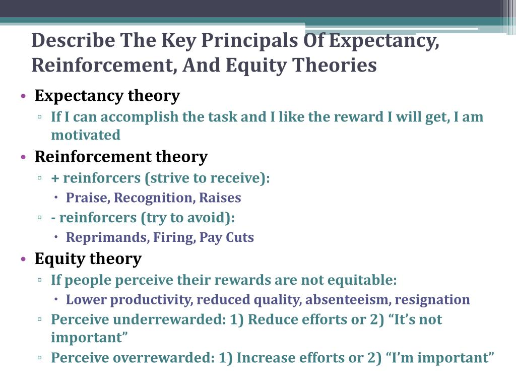 Describe The Key Principals Of Expectancy, Reinforcement, And Equity Theories