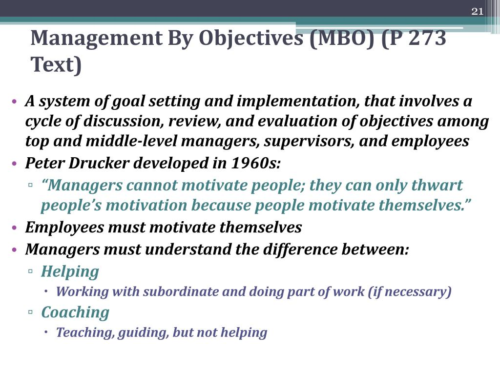 Management By Objectives (MBO) (P 273 Text)