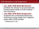 doe moratorium and suspension