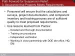 path forward for suspension relief 3 assurance that property meets requirements