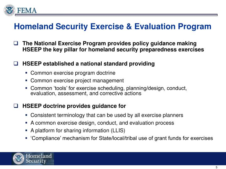 ppt integration homeland security exercise and evaluation program