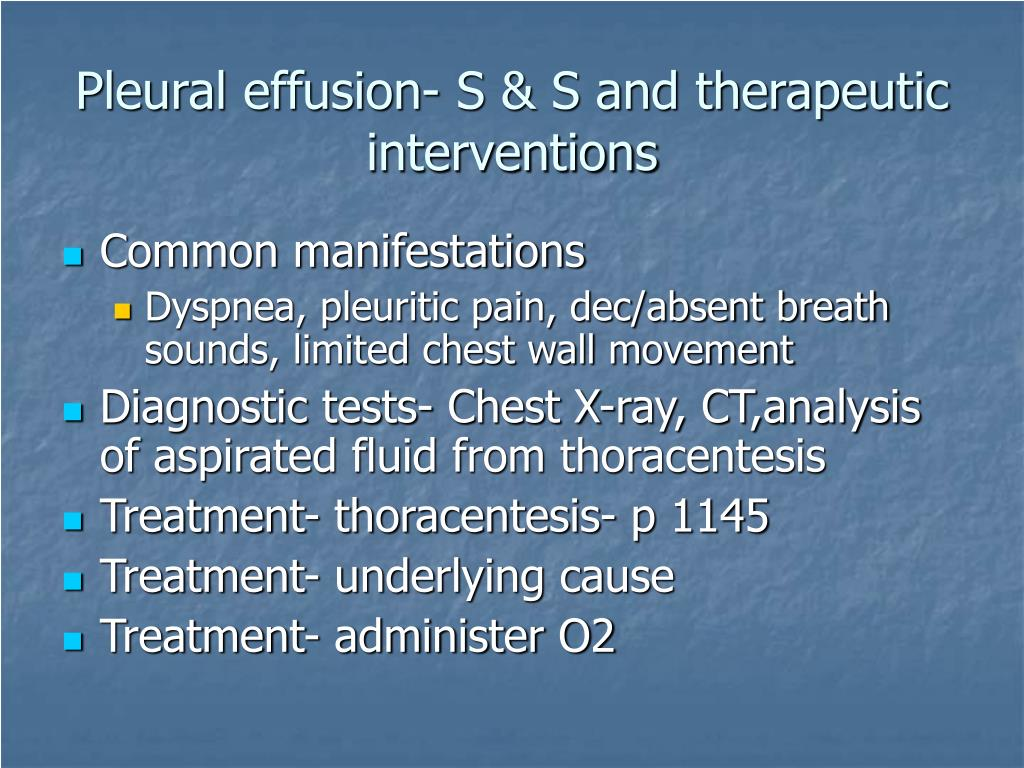 Pleural effusion- S & S and therapeutic interventions