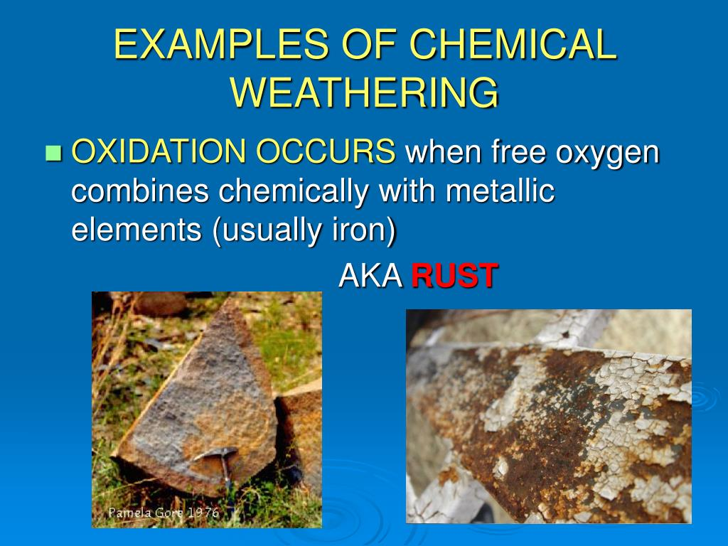 a description of the process of weathering and its types Weathering is the breaking down of rocks, soil and their minerals through direct contact with the earth's atmosphere, waters, or living things weathering occurs in one place with little or no movement, and should not be confused with erosion which is when rocks and minerals are moved to another place by ice, water, wind or gravity.