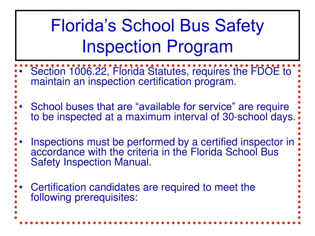 School Bus Safety Inspection Manual Engine Diagram Ppt Florida S Program Powerpoint Rh Slideserve Com Pre Trip