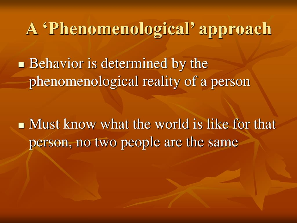 A 'Phenomenological' approach