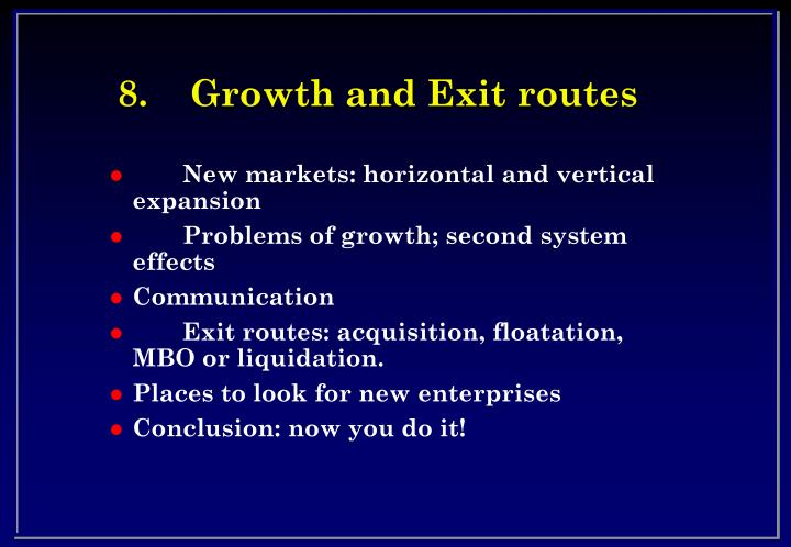 8 growth and exit routes n.