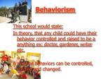behaviorism47