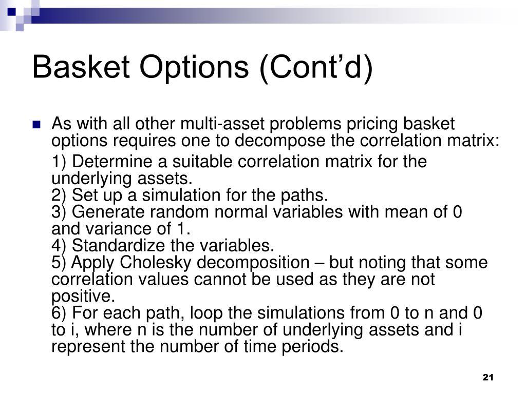Basket Options (Cont'd)