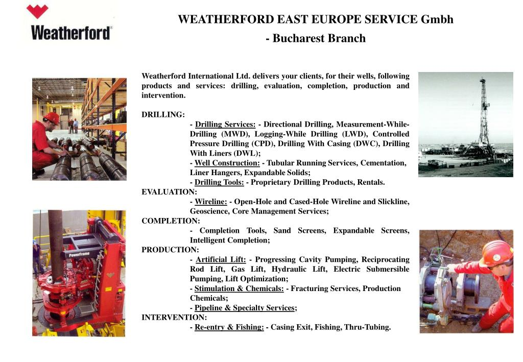 PPT - WEATHERFORD EAST EUROPE SERVICE Gmbh - Bucharest Branch