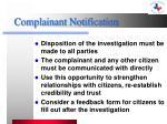 complainant notification