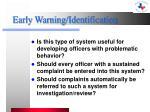 early warning identification