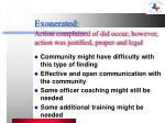 exonerated action complained of did occur however action was justified proper and legal