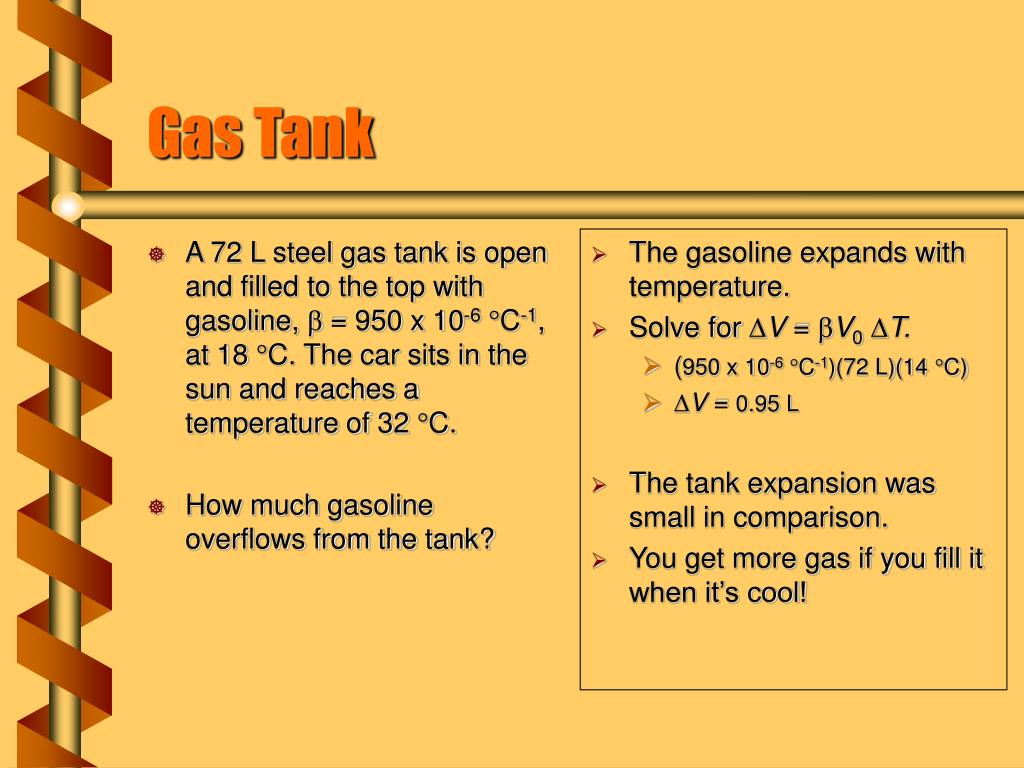 A 72 L steel gas tank is open and filled to the top with gasoline,