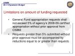 limitations on amount of funding requested