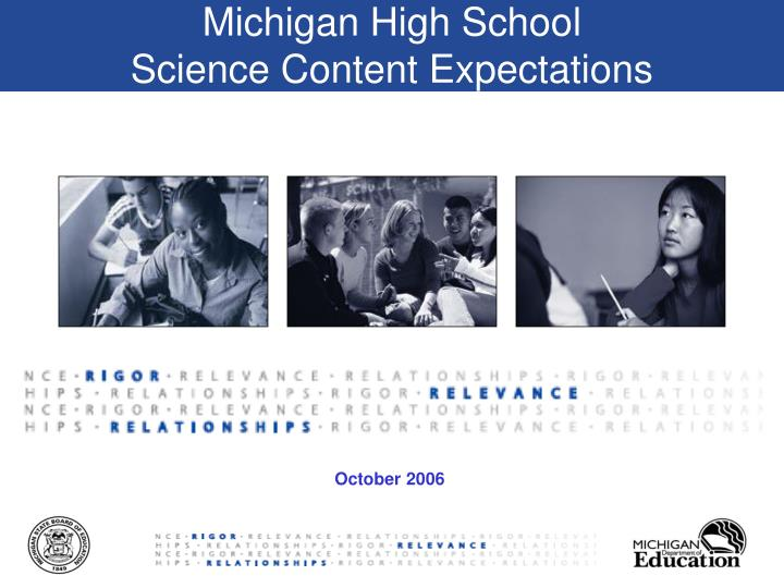 michigan high school science content expectations n.