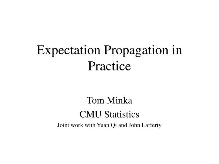 expectation propagation in practice n.