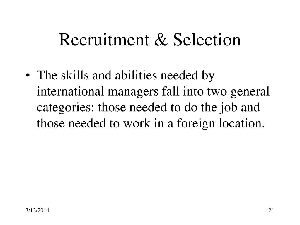 international recruitment and selection