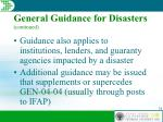 general guidance for disasters continued34