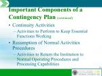 important components of a contingency plan continued19
