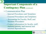 important components of a contingency plan continued20