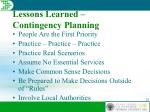 lessons learned contingency planning