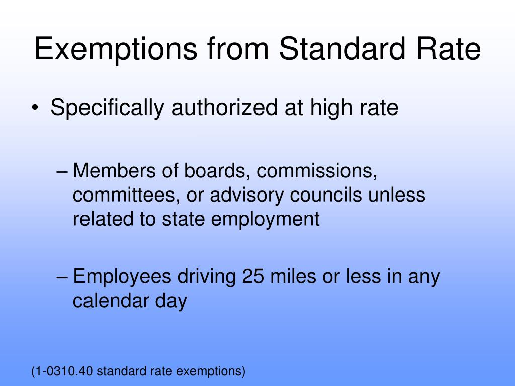 Exemptions from Standard Rate