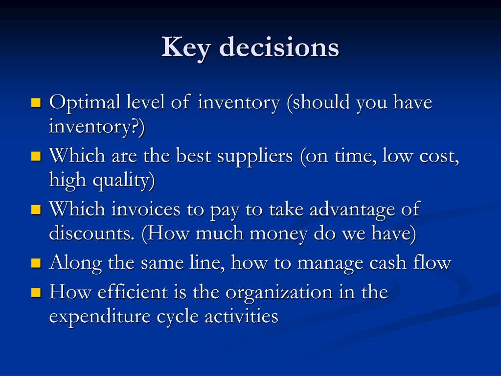 Key decisions