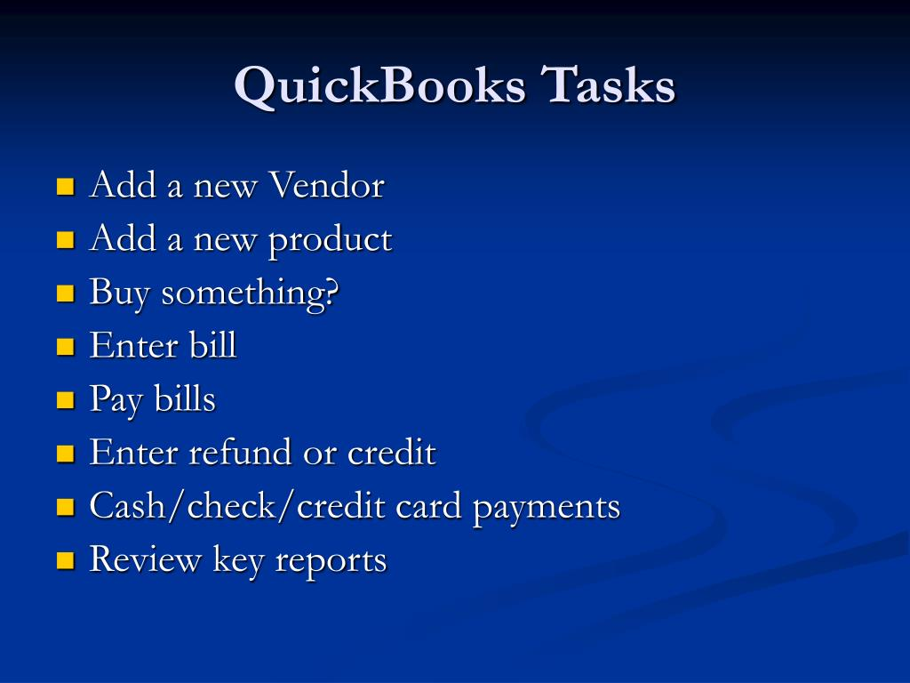 QuickBooks Tasks