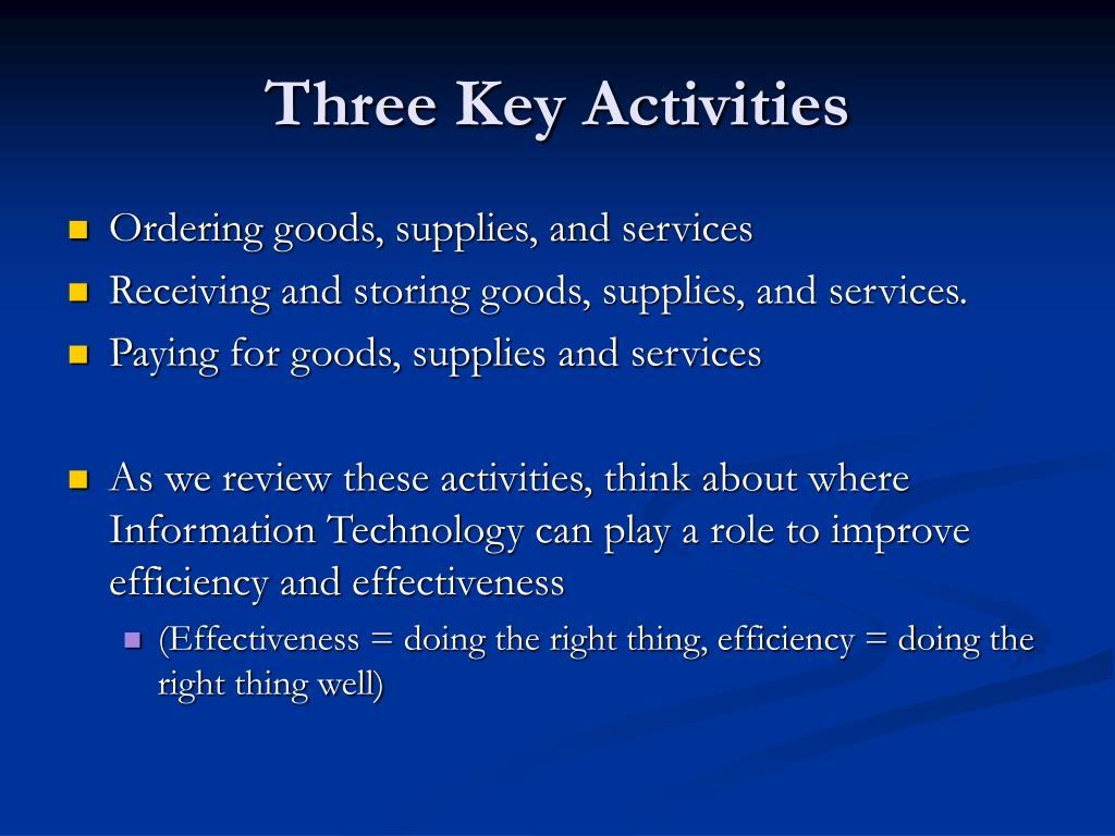 Three Key Activities