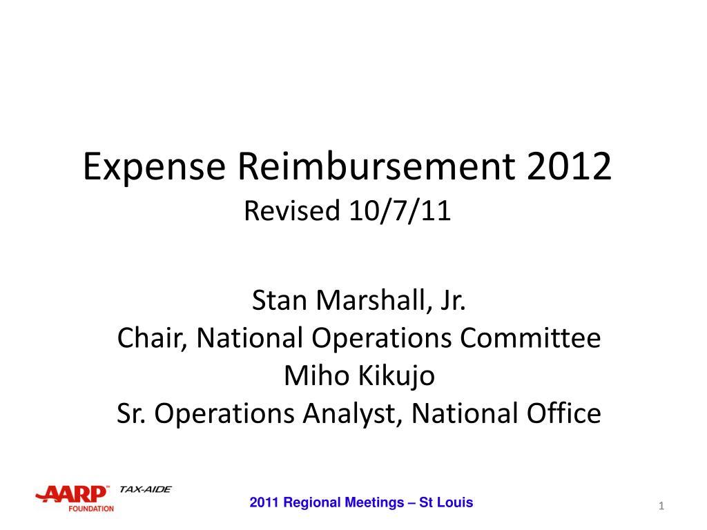 expense reimbursement 2012 revised 10 7 11 l.