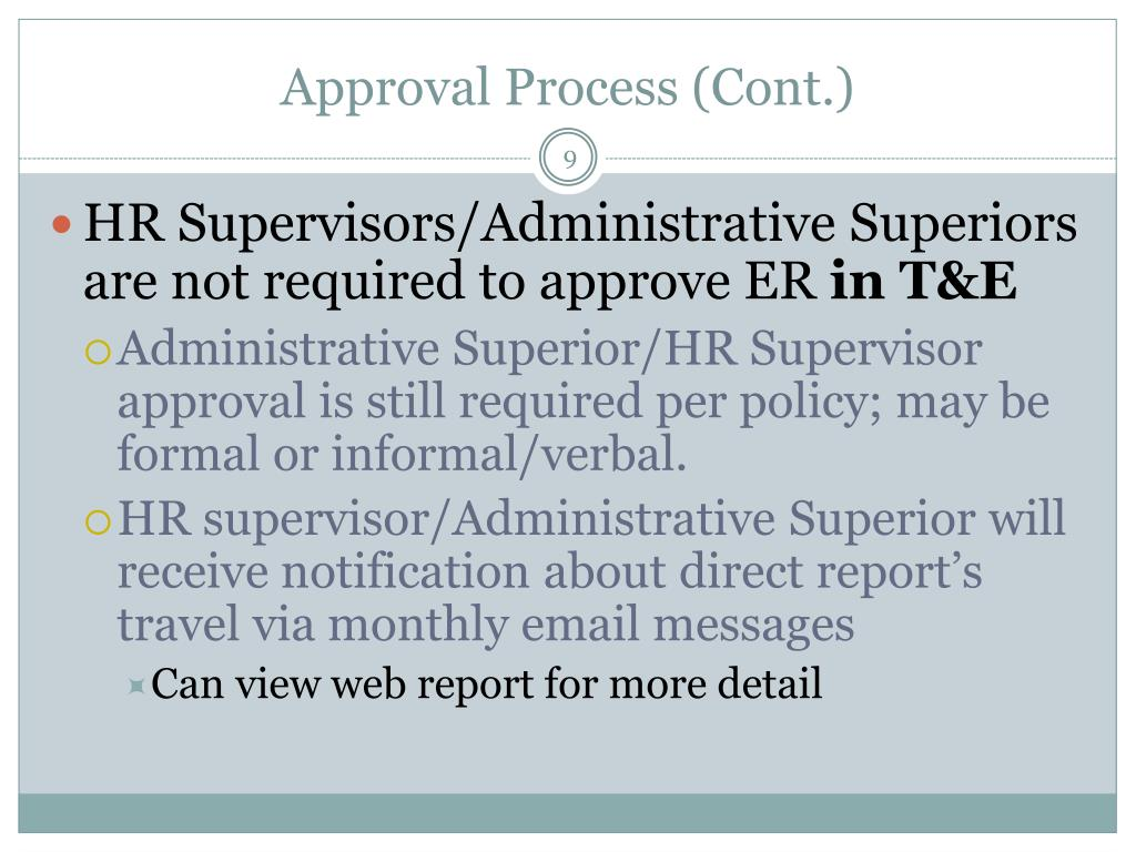 Approval Process (Cont.)