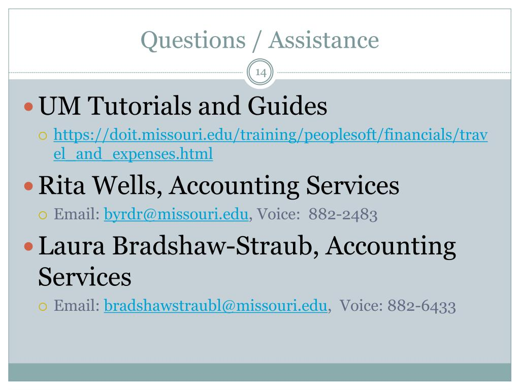 Questions / Assistance