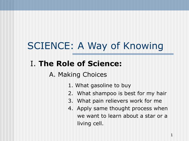 roles and ways of knowing for