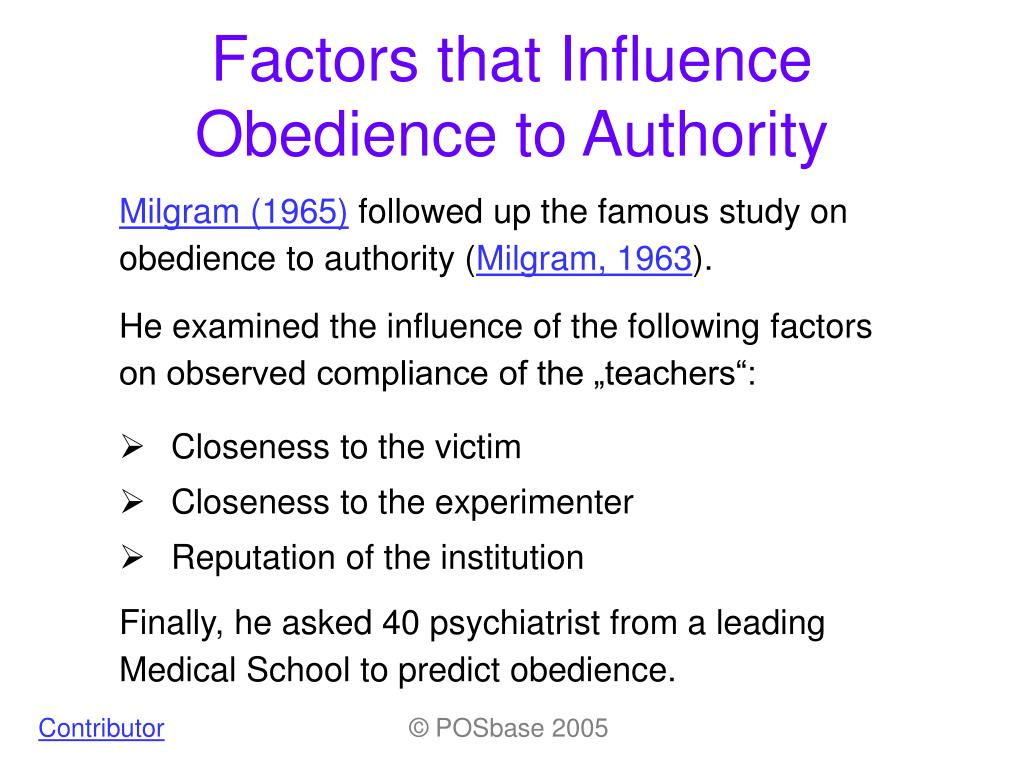 the factors that influence the obedience level of groups in four psychological studies What are three or four of the most important factors that have been found to increase or decrease conformity group decision making explain how and why social and.