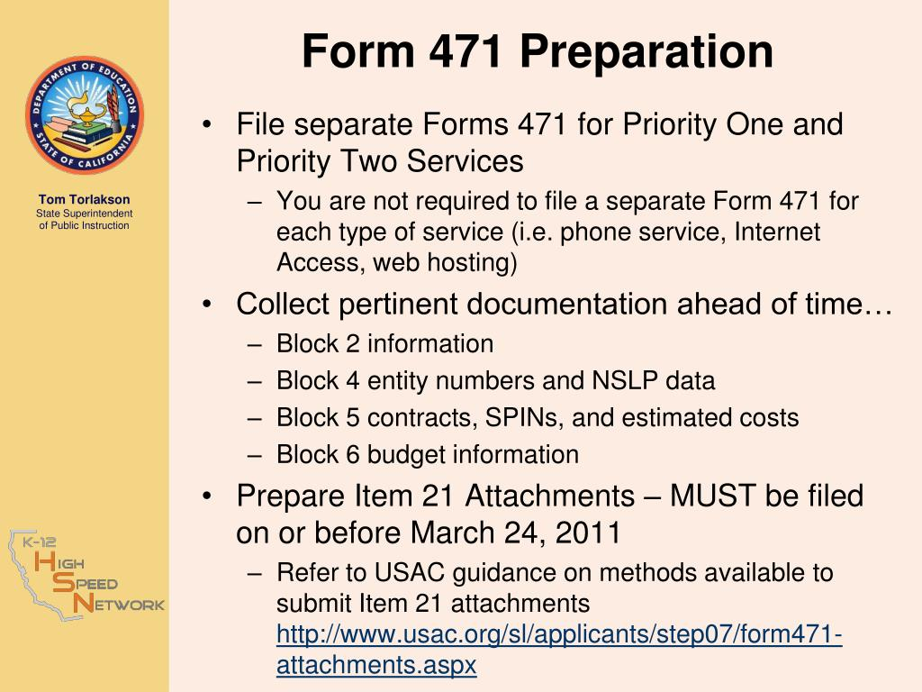 Form 471 Preparation