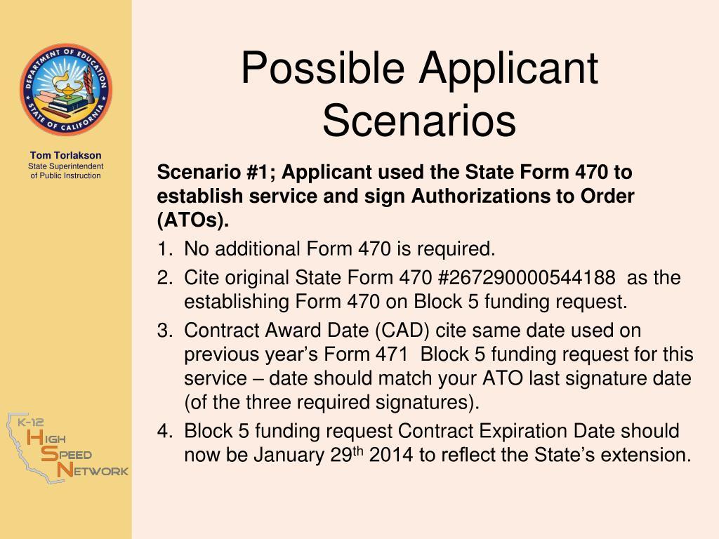 Possible Applicant Scenarios