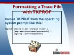 formatting a trace file with tkprof