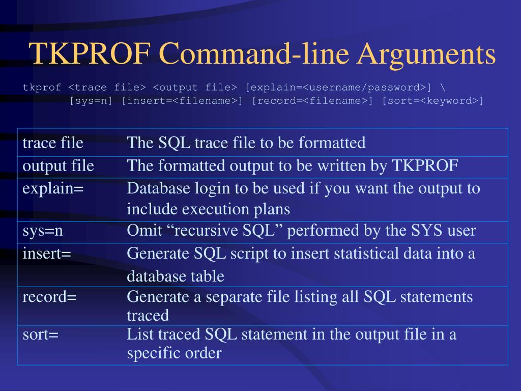 TKPROF Command-line Arguments