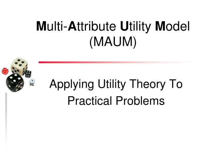 applying utility theory to practical problems n.