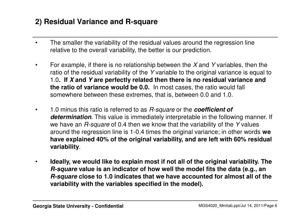 2) Residual Variance and R-square