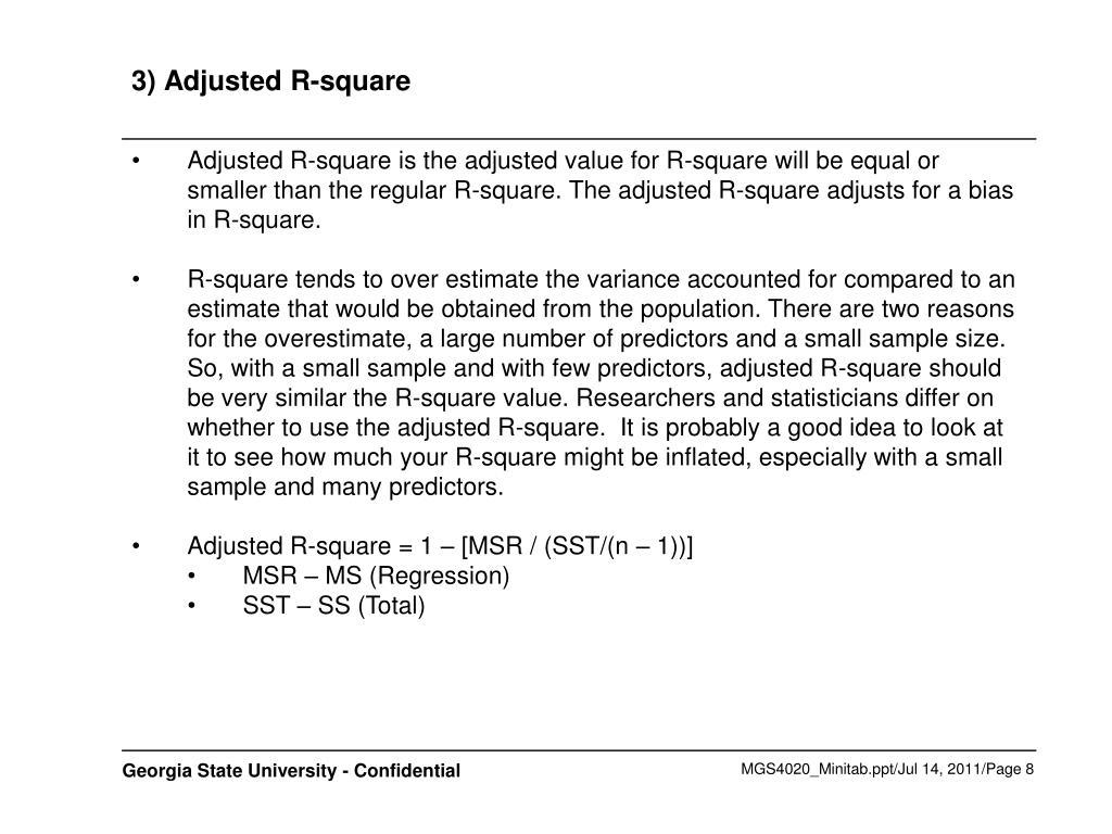 3) Adjusted R-square