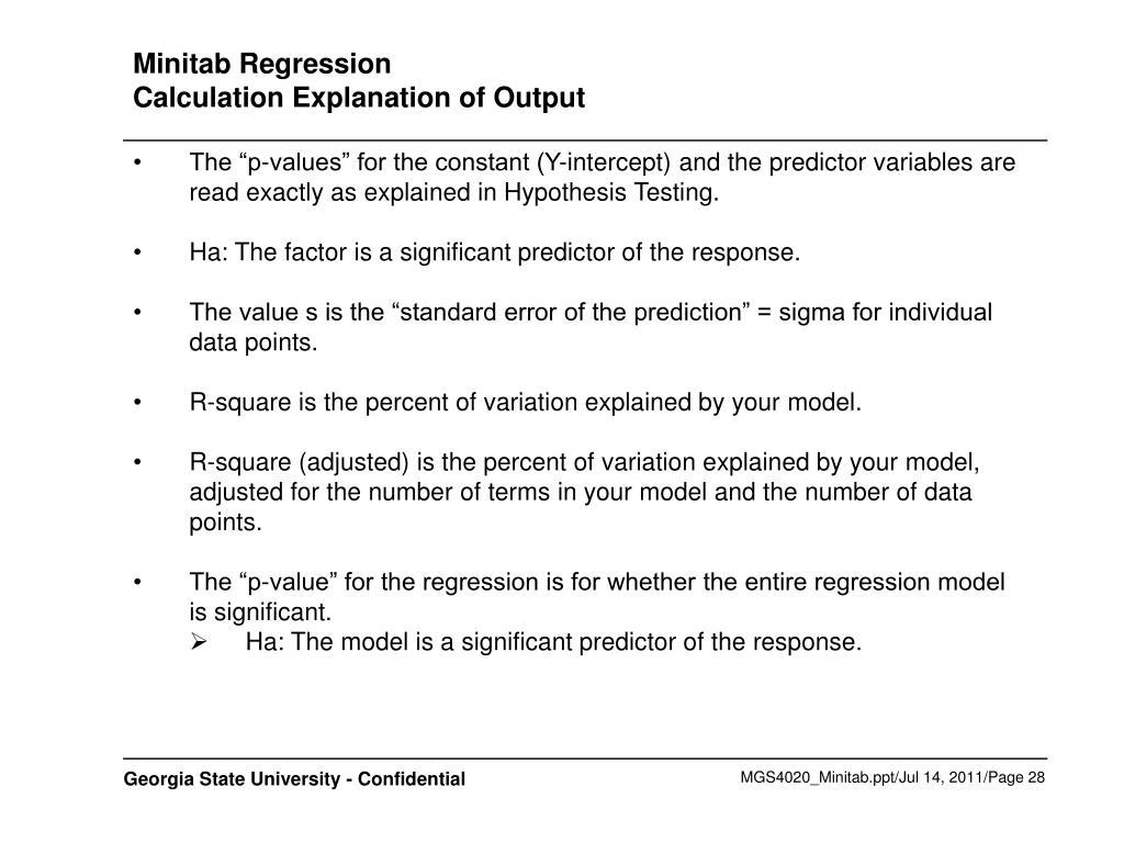 Minitab Regression